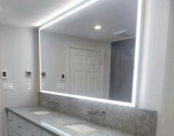 LED strip lights behind mirror, Kestle Interiors Design Newmarket