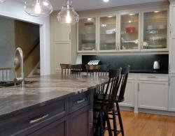Khaki-Painted-Laquer Shaker Doors , Stained Maple Island