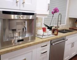 """Coffee bar, built-in Thermador coffee machine; Square under-mount 10 """" stainless-steel sink"""