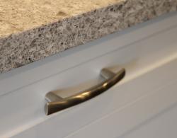 Brushed nickel hardware; Kestle Interiors kitchen design Newmarket