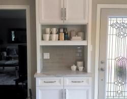 Beverage center; Hereford doors in Frost White; Quartz counter surface