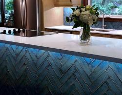 Ceramic-glass cooktop; Caesarstone Organic White quartz countertop with lighting installed by homeowner