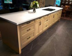 Full length island with storage & surface prep space; Whirlpool 30-Inch electric, ceramic-glass cooktop