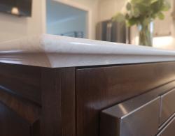 Quartz countertop with upside-down-basin-edge profile Kestle Interiors