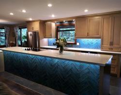 Shelburne-Buff finish, birch doors; Alchimia Blue polished ceramic 3 x 12 inch subway tile