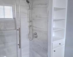 Kestle Interiors modern, sliding glass barn-door style shower
