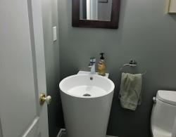 Elongated toilet, pedestal sink
