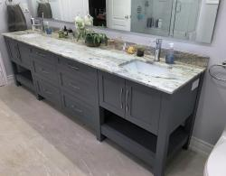 "Vanity with double undermount 16"" rectangular sinks; Newmarket Bathroom"