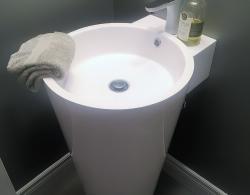 Pedestal sink Kestle Interiors design