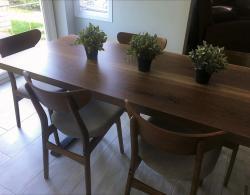Beautiful live-edge slab dining surface @ Kestle Interiors