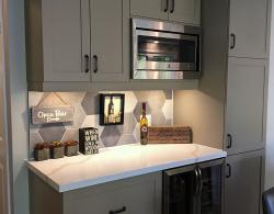 Brome, shaker-style cabinet doors in Taupe laquer finish @ Kestle Interiors