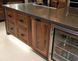 Dark Brown Kitchen Island in Sharon Kitchen Designs and Renovations