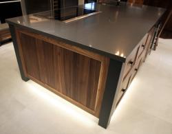 Clean Dark Brown Wood with Stove Kitchen Island Installation Sharon