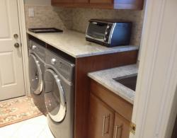 """10""""-deep, stainless-steel, undermount laundry sink, with quartz countertop"""