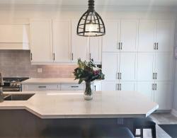 Honey-Bronze knobs & pulls, Quartz countertop, Kestle Interiors