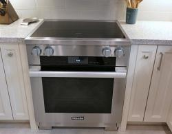 Miele 30-inch induction range, clean-touch stainless steel;Kestle Interiors Newmarket Kitchen Design