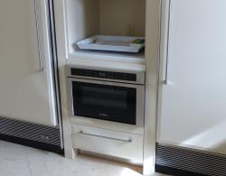 Bosch microwave drawer, with storage beneath and serving area above