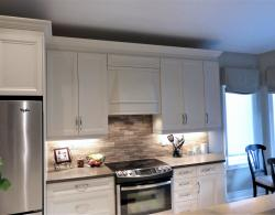 Furniture-style canopy hood, same finish as cabinetry doors; under-cabinet LED task lighting