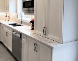"""Quartz countertop, 1.5"""" edge profile, Moorland Fog Kestle Interiors"""