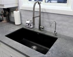 Silgranit sink in Anthracite - natural granite composite material, non-porous surface; Cold water filtration faucet; 3 x 12 Artisan skylight glass wall tiles;