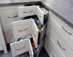 90-degree drawer system; Quartz countertop in Rugged Concrete
