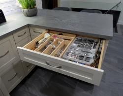 Rugged Concrete Quartz; Maple melamine interior; Drawer divider