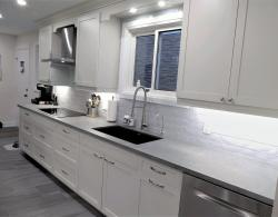 """4"""" LED slim-line ceiling pot lights; puck lights over sink; undercabinet LED lighting; Stainless-steel chimney hood; Induction cook top"""