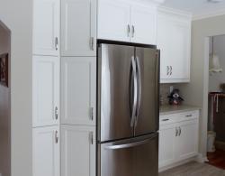 Tall pantry units, Natural maple melamine box, Pearl White lacquer finish; Kestle Interiors Design Newmarket